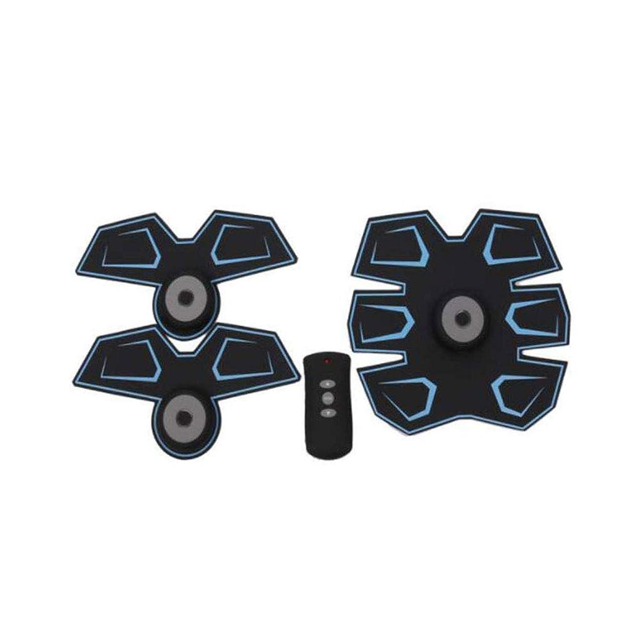 ルートおなじみのロシアGWM 腹部マッサージャー筋肉フィットネス装置、腹部電気刺激装置EMS腹部トレーナー、ワイヤレス電子フィットネスマッサージャーセット腹部腕脚ユニセックス(青)