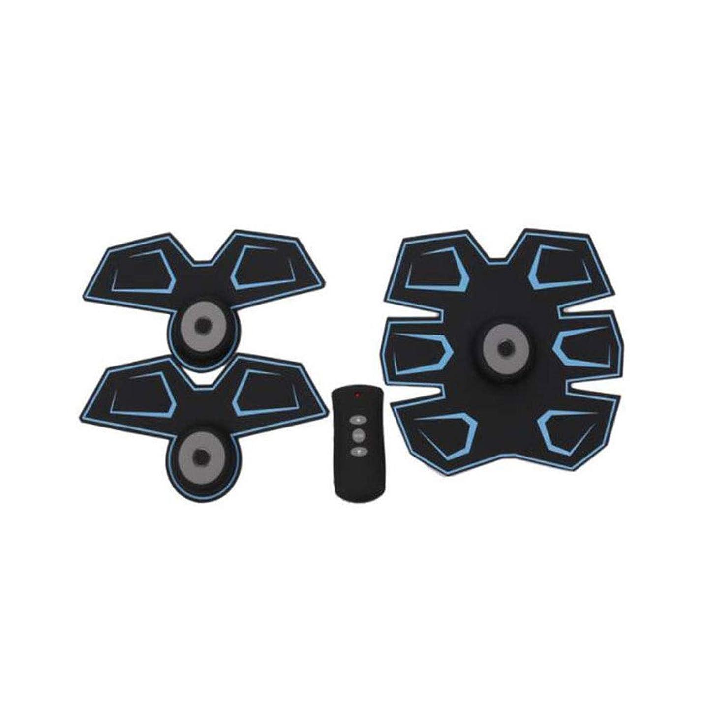 薄いですモルヒネ重要なGWM 腹部マッサージャー筋肉フィットネス装置、腹部電気刺激装置EMS腹部トレーナー、ワイヤレス電子フィットネスマッサージャーセット腹部腕脚ユニセックス(青)