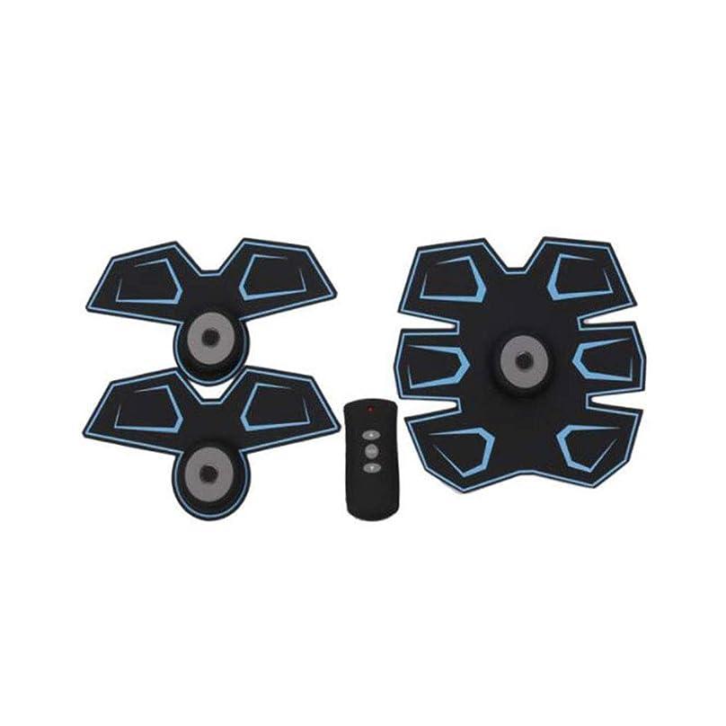 ティッシュ異形効能あるGWM 腹部マッサージャー筋肉フィットネス装置、腹部電気刺激装置EMS腹部トレーナー、ワイヤレス電子フィットネスマッサージャーセット腹部腕脚ユニセックス(青)