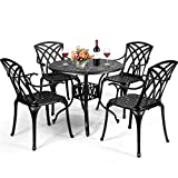 Giantex Bistro Table Set with 4 Chairs, Cast Aluminum Patio Table and Chairs Set, Outdoor Round Dining Table with Umbrella Hole for Yard, Garden, Deck (Black)