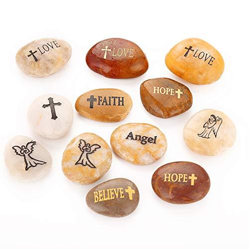 RockImpact 12 Stück Schutzengel Steine mit Schutzengel, Verschiedene Sprüche mit Kreuz, Gravierte Inspirierende Steine Glücksbringer Geschenk Glückssteine (je 5-8 cm)