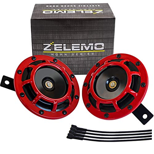 ZELEMO Eletric Car Horn Kit 12V Super Loud High Tone and Low Tone Metal Twin with Red Protective Grill Works on Any 12 Volt Vehicle Horn Including Cars, Trucks, Vans, Motorcycles, Buses, Buses,Boats