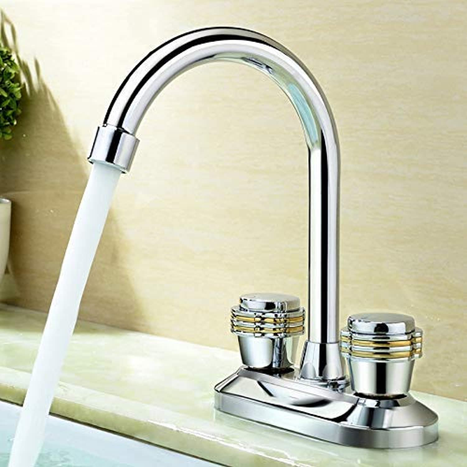 Oudan Basin Mixer Tap Bathroom Sink Faucet Double Double Handle hot and cold basin tap,T (color   Y)