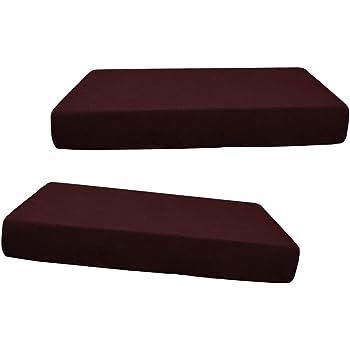 PETSOLA /Élastique Jacquard Canap/é Si/ège Banc Coussin Housse Couch Housse Protecteur Remplacement pour Salon Meubles De Jardin Caf/é noir-2pcs