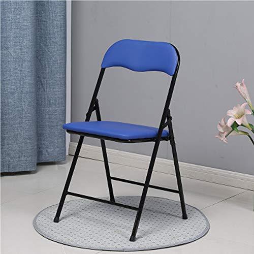 Premier Housewares - Silla plegable con asiento de efecto piel, estructura de metal resistente, asiento acolchado, plegable, fácil de guardar, para conferencia de visitantes moderno Large azul