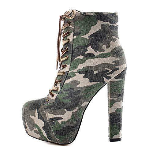 Onlymaker Damen Knöchelstiefel Schnürer Stiefeletten Pumps Plateau Blockabsatz Boots Canvas Warm Gefüttert Camouflage 37 EU