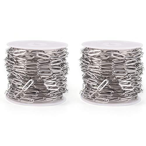 Airssory 2 rotoli di catene a graffetta in acciaio inossidabile disegnate allungate non finite a maglia di cavi sfuse per creazione di gioielli con collana di bracciali personalizzati - 11~12x4mm