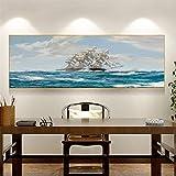 Abstract Ships Sail Ocean Pintura al óleo sobre lienzo Carteles e impresiones Escandinavo Wall Art Picture Living Room decor 50x150cm