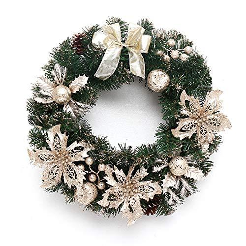 FunPa led-slinger Kerstmis, 9 voet kerstslinger kunstpijnboom krans met LED-licht Merry Christmas gietijzer bal en bloemen Kerstmis hoofddecoratie voor ramen, boom, open haard, trap zoals getoond