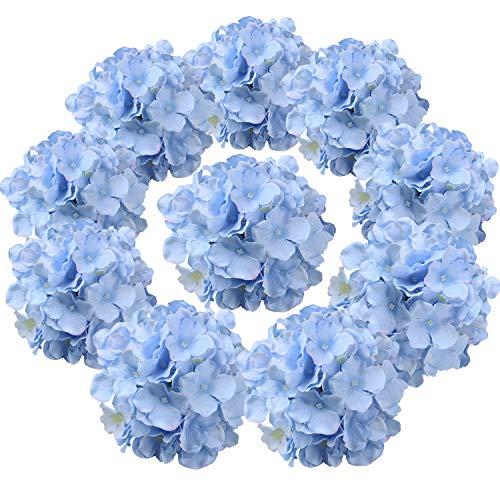 Flojery Hortensienköpfe aus Seide, künstliche Blumen mit Stielen für Zuhause, Hochzeitsdekoration, 10 Stück (blau)
