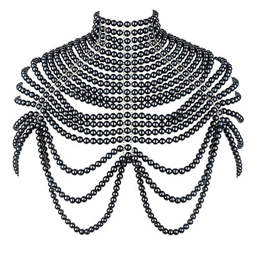 Sujetador De Cadena Corporal Perla - Collares Hombro Moda Cuerpo Joyería Collar Choker Cadenas Hombro, Arnés Cuello Largo Traje,Negro
