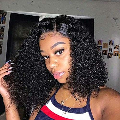 Maxine Brazilian Remy Human Hair Curly 4x4 Closure Wigs 150% Density Brazilian Remy Human Hair Adjustable Wigs with Baby Hair for Black Women (10inch,