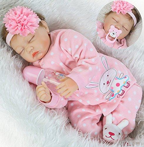 Realistic Reborn Baby Dolls Girl Sleeping Soft Vinyl Silicone Baby Doll 22 inchs 55 cm Newborn Baby Dolls Eyes Closed