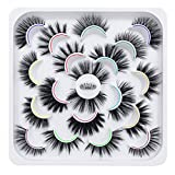 DYSILK 10 Pairs 6D Mink Eyelashes Faux Fluffy Wispy Natural False Eyelashes Long Thick Fake Eyelashes Handmade Reusable Dramatic Eyelashes Pack Makeup Lashes No Glue 10 Styles Mixed