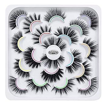 DYSILK 10 Pairs 6D Mink Eyelashes Faux Fluffy Wispy Natural False Eyelashes Long Thick Fake Eyelashes Handmade Reusable Dramatic Eyelashes Pack Makeup Lashes No Glue 10 Styles Mixed
