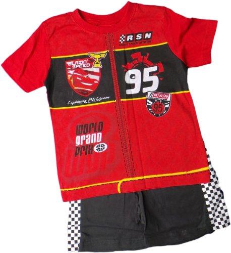 Disney Cars Schlafanzug - T-Shirt und Shorty - Lightning McQueen Blazing Speed - Rot/Schwarz/Weiss/Mehrfarbig - Renndesign