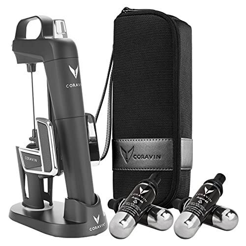 Coravin Model Two Elite Pro – Wine Preservation System – Bottle Opener, Needle Pourer, Aerator, and Wine Saver – Matte Black – Includes 4 Argon Gas Capsules, Carry Case, Base, and Wine Needle