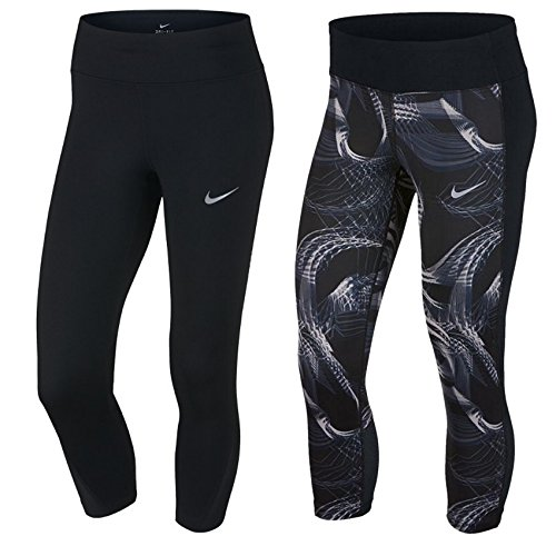Nike W Nk Pwr Crop Racer Damen 3/4 Leggings, Schwarz, S