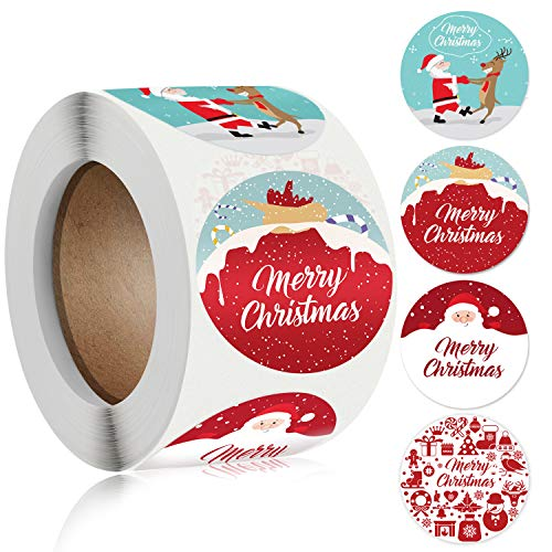 Dongpong Merry Christmas Stickers Labels Roll 1.5 Inch 4 Designs Round Christmas Tags 500 Adhesive Xmas Decorative Envelope Seals Stickers for Cards Gift Envelopes Boxes