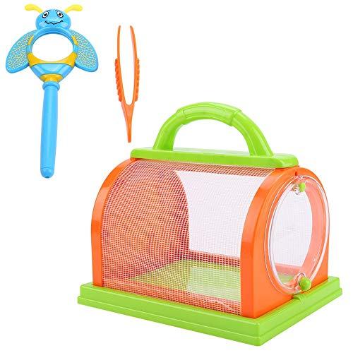 VGEBY Insektenkäfig, Outdoor Exploration Critter Cage Tragbarer Insektenkäfig für Kinder(orange & grün)
