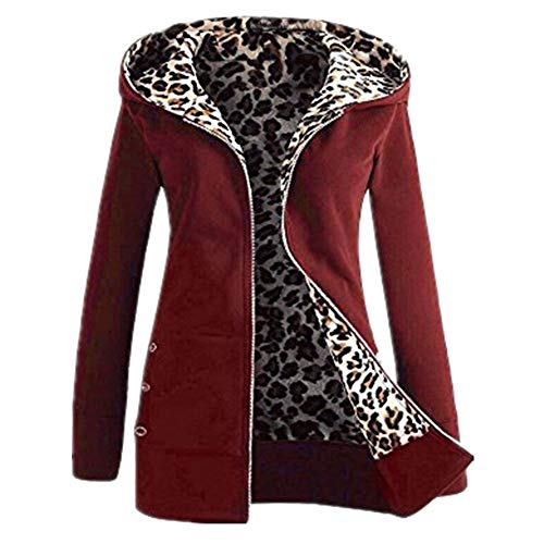 iHENGH Damen Herbst Winter Bequem Mantel Lässig Mode Jacke Frauen Plus Samt Dicker Kapuzenpulli Leopard Zipper Coat Overcoat Outwear(Wein, M)