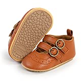 CAKOPEN Baby Girls Boys Mary Jane Flats Shoes Soft Anti-Slip Rubber Sole Baby Girls Crib Shoe Toddler First Walking Sneaker Princess Dress Shoes(0-6 Months Infant E/Brown)