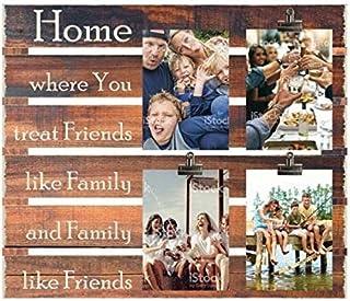 "Ilove Home Wood Slat Photo Clip - ""Home: Where You Treat Friends Like Family and Family Like Friends"" - Rustic Wall Decor ..."