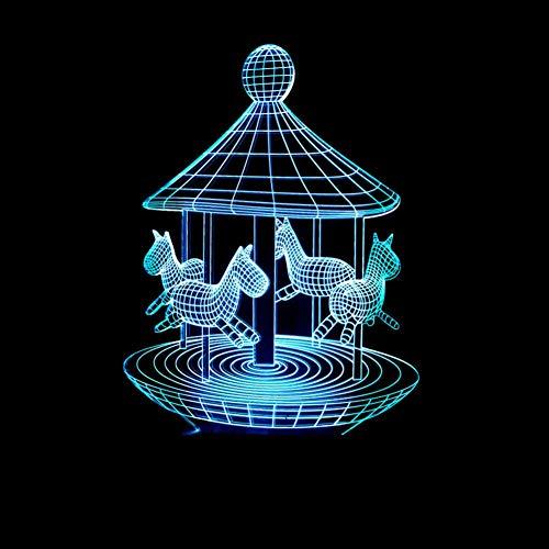 Yujzpl 3D Optische Illusions-Lampen, 3D Nachtlicht,Tolle 7 Farbwechsel-Nachtlicht Mit Usb Kabel-Für Kinder Schlafzimmer Geburtstagsgeschenke Geschenk-Spielzeug-Plattenspieler