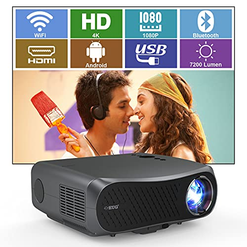 HD 1080P Native Projector WiFi Bluetooth 1920x1080p Android Os 7200Lumen LCD LED Smart Movie Projectors 4K Support with Speaker Zoom Keystone, Outdoor Theater Office PPT Proyector Wireless