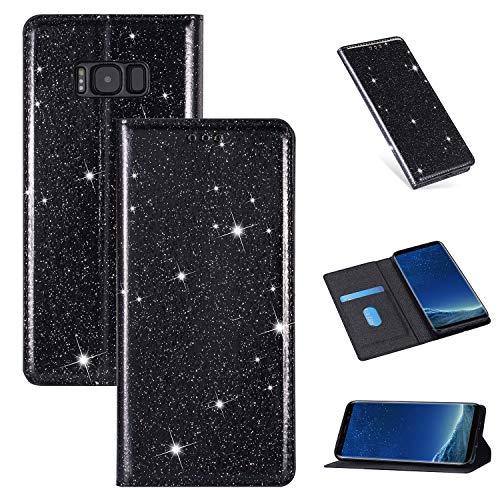 Nadoli Glitter Coque pour Galaxy S8 Plus,Luxe Fille Femme Brillante Bling Cuir PU Magnétique Portefeuille Housse Étui à Rabat pour Samsung Galaxy S8 Plus