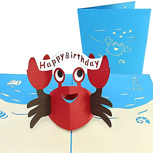 PopLife Happy Red Crab 3D Pop Up Greeting Card for Birthdays - Sea Creatures, Ocean Lovers, Classic Toy - Folds Flat, Perfect for Mailing - Birth Day, Baby Shower