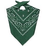 Lipodo Bandana Tuch Damen/Herren/Kinder - Kopftuch in dunkelgrün aus 100% Baumwolle - Multifunktionstuch in Einheitsgröße (55 x 55 cm) - vielfältige Tragemöglichkeiten