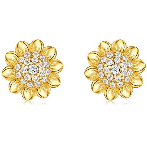 Qings Gold Ohrstecker Damen, Sonnenblume Ohrstecker Nickelfrei Ohrringe Silber 925 Zirkonia Kleine Ohrstecker Geschenke für Mädchen und Frauen...