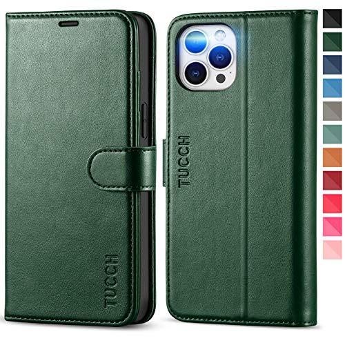 TUCCH Funda iPhone 12 Pro MAX, Funda de Cuero PU con Bloqueo RFID, Ranura para Tarjeta, Soporte Plegable, Cierre Magnético, Carcasa Protectora para iPhone 12 Pro MAX 5G (6.7''), Verde Medianoc