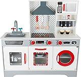 Small Foot 11081 Cuisine pour enfants de qualité supérieure en bois, avec machine à café intégrée, vaisselle, lave-linge etc, à partir de 3 ans jouets de jeux de rôle, multicolore