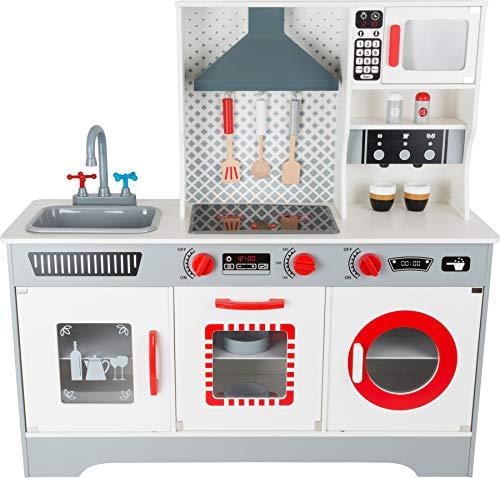 Small Foot- Cucina Design Premium in Legno, con Macchina da caffè Integrata, lavastoviglie, Lavatrice, ECC, a Partire dai 3 Anni Giocattoli, Multicolore, 11081
