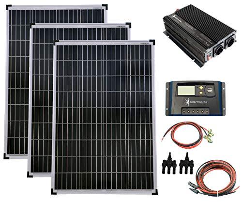 SET 3x 100W Poly Solar Modul 20A Laderegler gelb Spannungswandler 1500W modifiziert Kabel Stecker Komplettset Solarmodul Photovoltaik Inselanlage