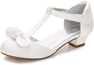 8213c89d579c LLBubble Heeled Satin Flower Girls Shoes with Bow Low Heels Round Toe Ankle  Strap Wedding Party