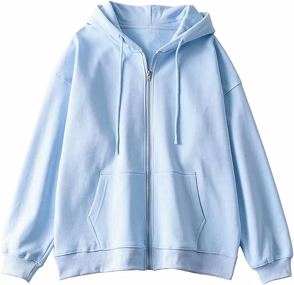 Women's Full-Zip Fleece Hoodie Drawstring Hood Casual Women Hoodies
