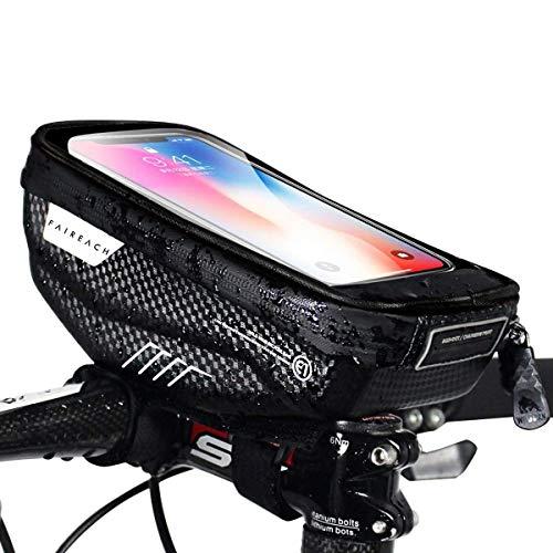 Faireach Bolsa Bici con Soporte para Telefono Móvil, Soporte Movil Bicicleta, Bolso Bicicleta Impermeable y con Ventana para Pantalla Táctil, para iPhone, Samsung y Otros Smartphones de hasta 6,5''