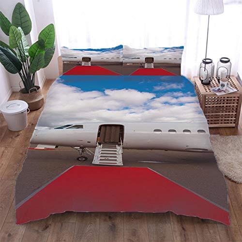 Jior Home Art Dekbedovertrekken Set, Vliegtuig Gedrukt Quilt Cover En 2 Kussensloop Set,Trendy Quilt Bedding Set,Ritssluiting Ontwerp