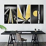 Abstracto minimalista dorado blanco y negro paisaje arquitectónico pintura decorativa cartel nórdico lienzo cuadros de pared 30x45cm (12x18in) x3pcs sin marco