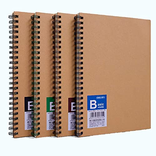 Riyyow Cuaderno Espiral, 4 Paquete de 1 Cuadernos encuadernados Original Kraft Classic Forrada Cuaderno para Trabajos Estudiante Durable Cuaderno (Size : A5 8.5''*5.8'')