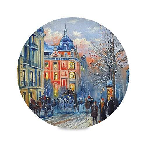 Lot de 1 set de table rond ALarge couleur abstrait Paris Art Art Lavable, résistant à la chaleur et aux taches