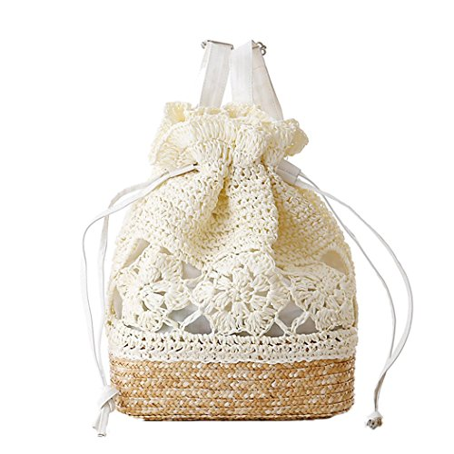 FAIRYSAN Häkeln Umhängetaschen Woven Handtasche Straw Rucksack mit Lederriemen Weiß