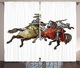 ABAKUHAUS Medieval Cortinas, Caballeros Edad Media, Sala de Estar Dormitorio Cortinas Ventana Set de Dos Paños, 280 x 225 cm, Multicolor