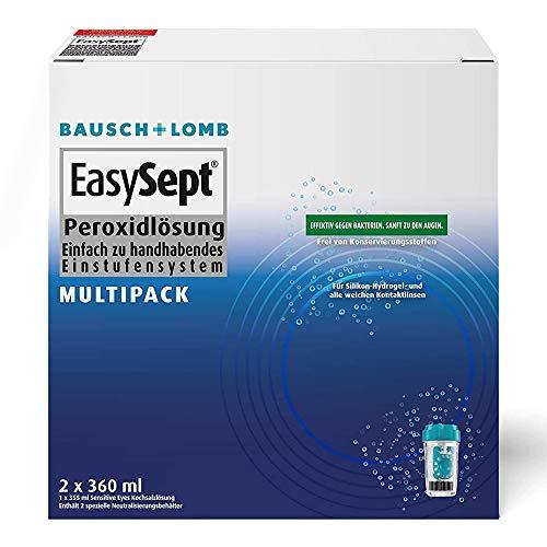Bausch und Lomb EasySept Peroxidlösung Kontaktlinsenreiniger weiche Linsen Multipack 2 x 360ml + Kochsalzlösung 355ml