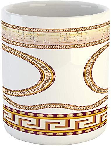 Koffie Mok 11 oz Thee Beker, Griekse Sleutelmok, Oude Fret Patroon in Ovale en Cirkel Vormen Golvend Rechte Grenzen, Bedrukte Keramische Koffie Mok Water Thee Drankjes Beker, Goudsbloem Plum Wit
