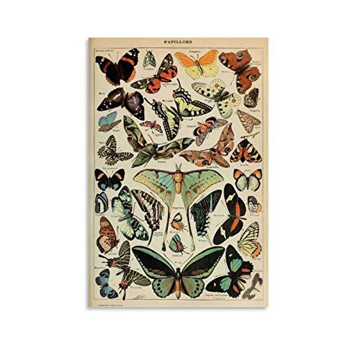 yuhui Vintage motyle plakat 1 płótno sztuka plakat i sztuka ścienna obraz druk nowoczesna rodzina sypialnia dekoracje plakaty 12 x 18 cali (30 x 45 cm)