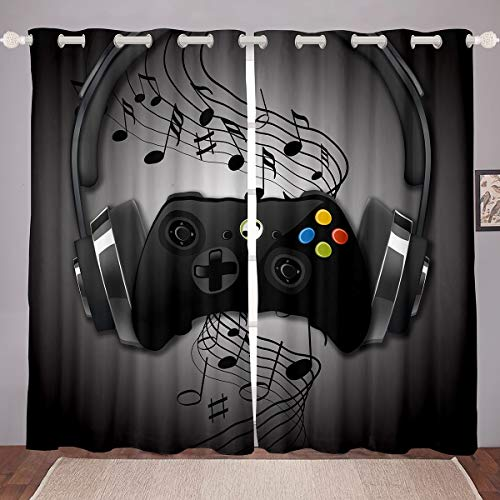 Games Curtains Black Grey Headphones Musical Notes Design Gamepad Window Curtain for Kids Boys Video Game Room Decor Cool Retro Playing Gamer Windows Drapes Gaming Controller Curtains 38 X 54,2 Panels